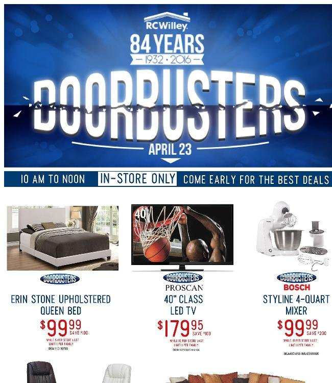 Anniversary Sale Doorbusters - Saturday 10:00am - 12:00pm