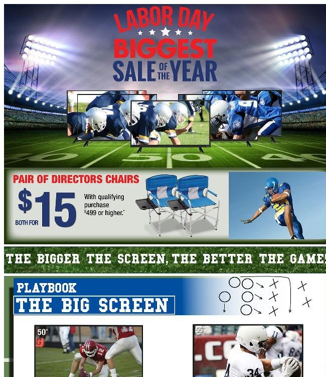 Kickoff Labor Day with Big Screens + 2 Directors Chairs for Only $15*