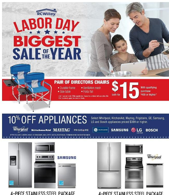Labor Day Sale! Get 10% Off Your Appliance Purchase + 2 Directors Chairs for Only $15*