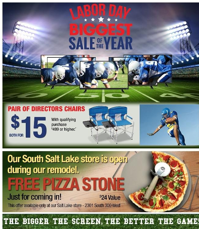Kickoff Labor Day with Big Screens + Special Gift Just for Coming In!