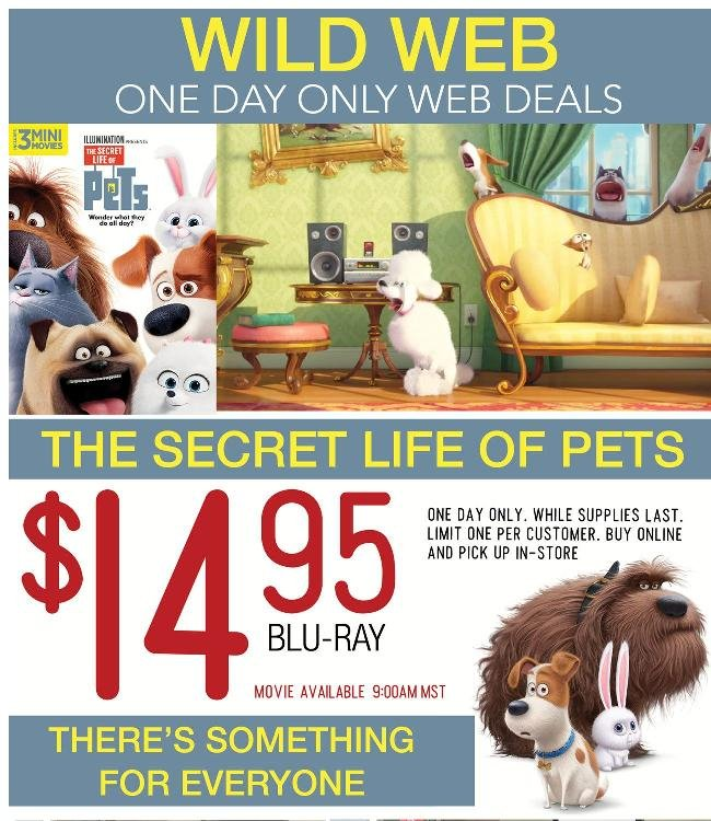 Secret Life of Pets Blu-Ray Only $14.95