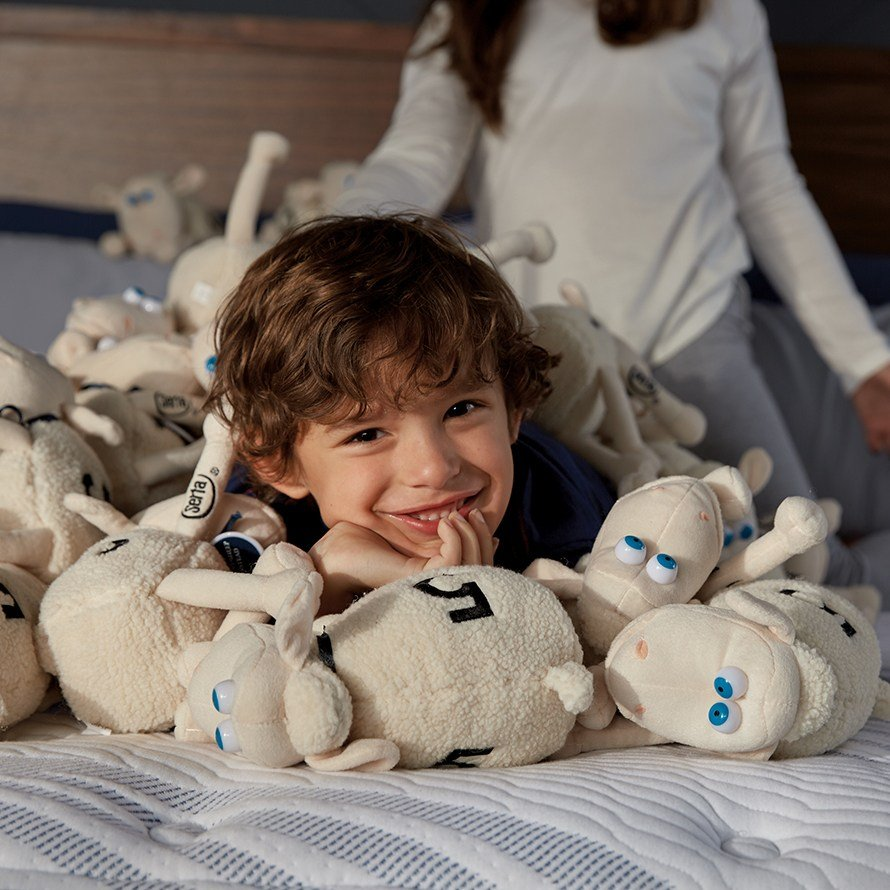 boy surrounded by plush toy sheep