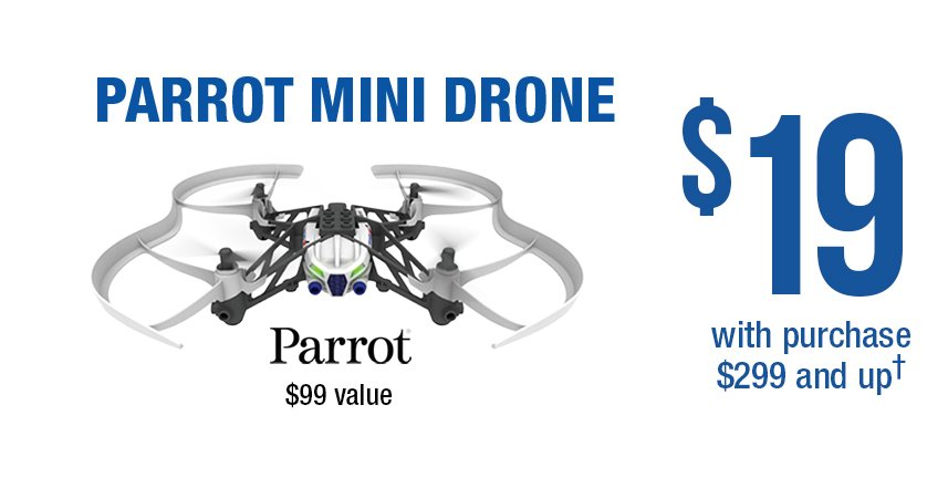 Parrot Mini Drone for $19 with qualifying purchase $299 and up.