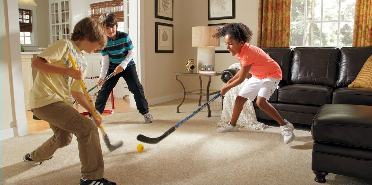 Kids Playing on Stainmaster, the most durable carpet ever
