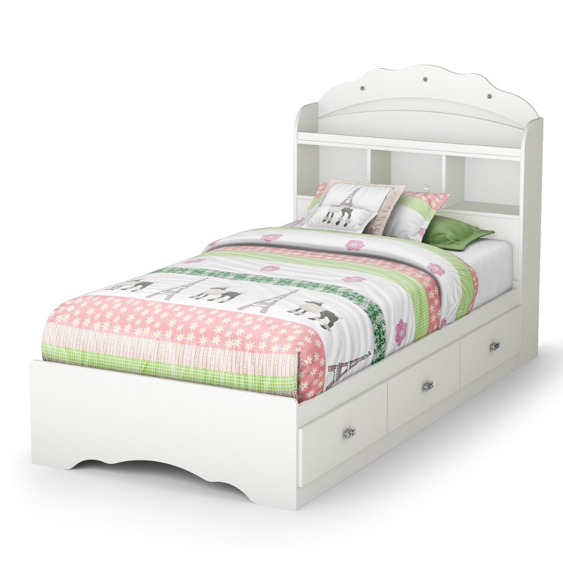 Tiara White Twin Mates Bed With Bookcase Headboard