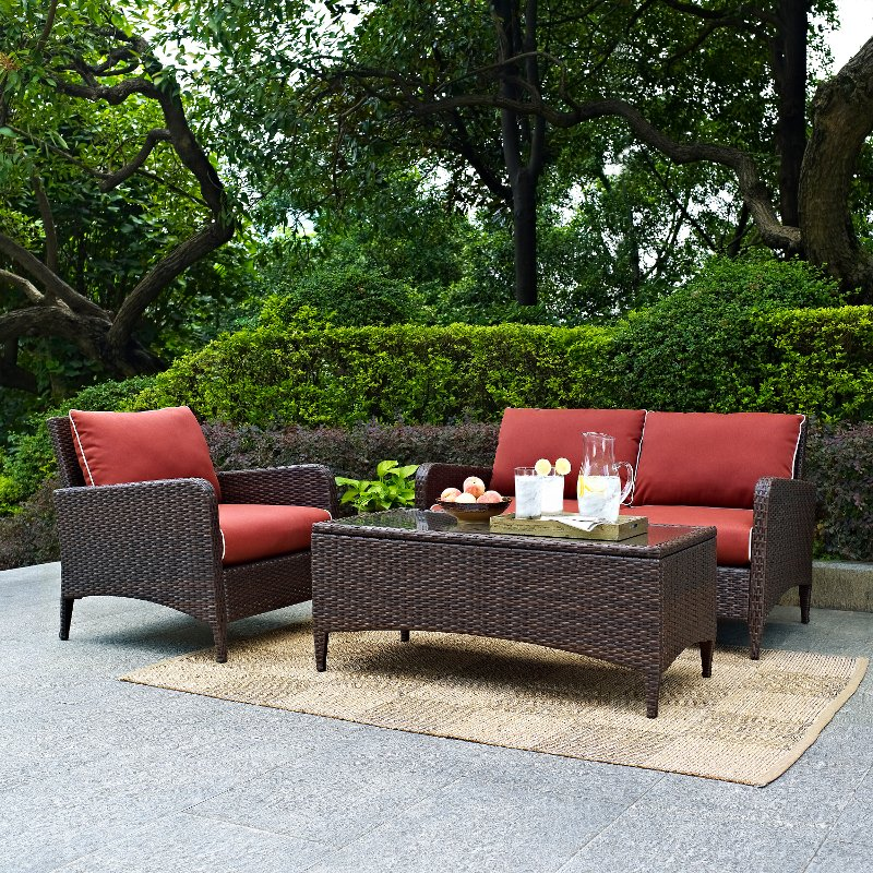 3 Piece Wicker Patio Furniture Set - Loveseat Arm Chair and Table in Sangria - Kiawah   RC Willey Furniture Store & 3 Piece Wicker Patio Furniture Set - Loveseat Arm Chair and Table ...