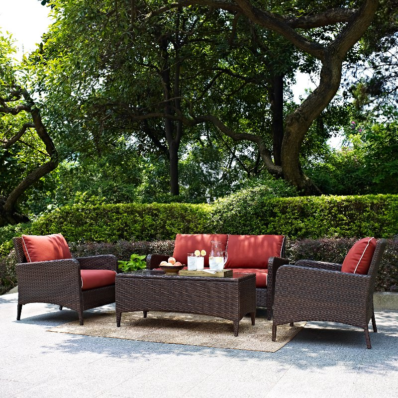 4 Piece Wicker Patio Furniture Set Loveseat Arm Chairs And Table In Sangria Kiawah Rc Willey