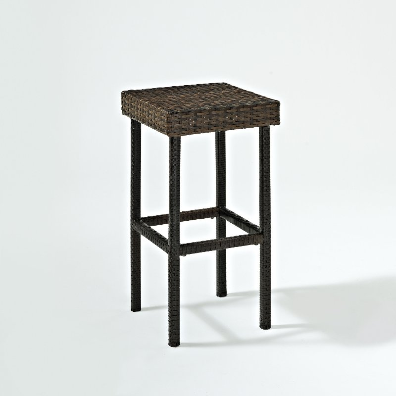 Dark Brown 24 Inch Wicker Counter Height Stools Set Of 2 Palm