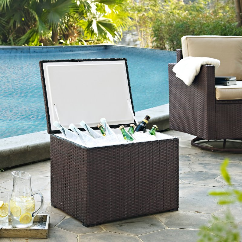 Genial Dark Brown Wicker Outdoor Cooler   Palm Harbor | RC Willey Furniture Store