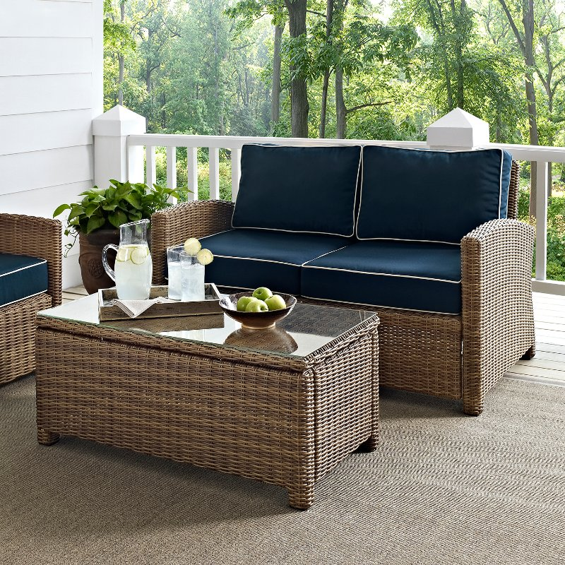 KO70025WB NV Navy And Brown Wicker Patio Furniture Loveseat And Table    Bradenton