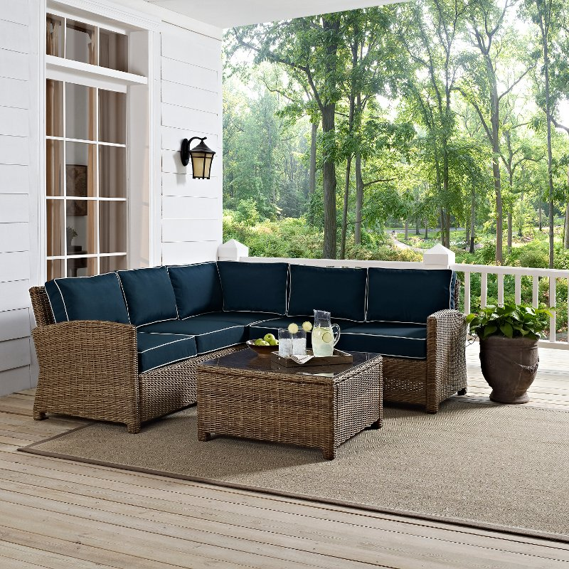 Charmant Navy And Brown Wicker Patio Furniture Sectional And Table   Bradenton | RC  Willey Furniture Store
