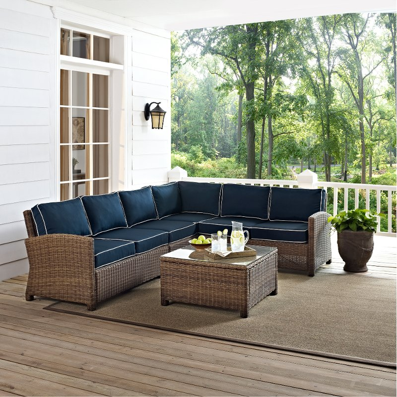 Prime Navy And Brown Wicker Patio Sectional And Table Bradenton Download Free Architecture Designs Aeocymadebymaigaardcom