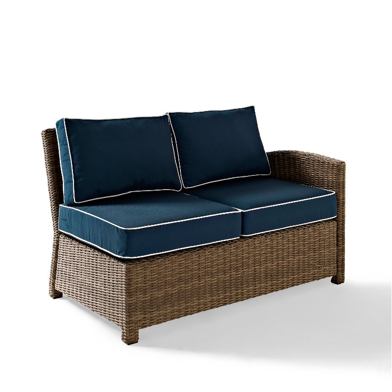 Navy And Brown Wicker Patio Furniture Right Corner Loveseat   Bradenton |  RC Willey Furniture Store