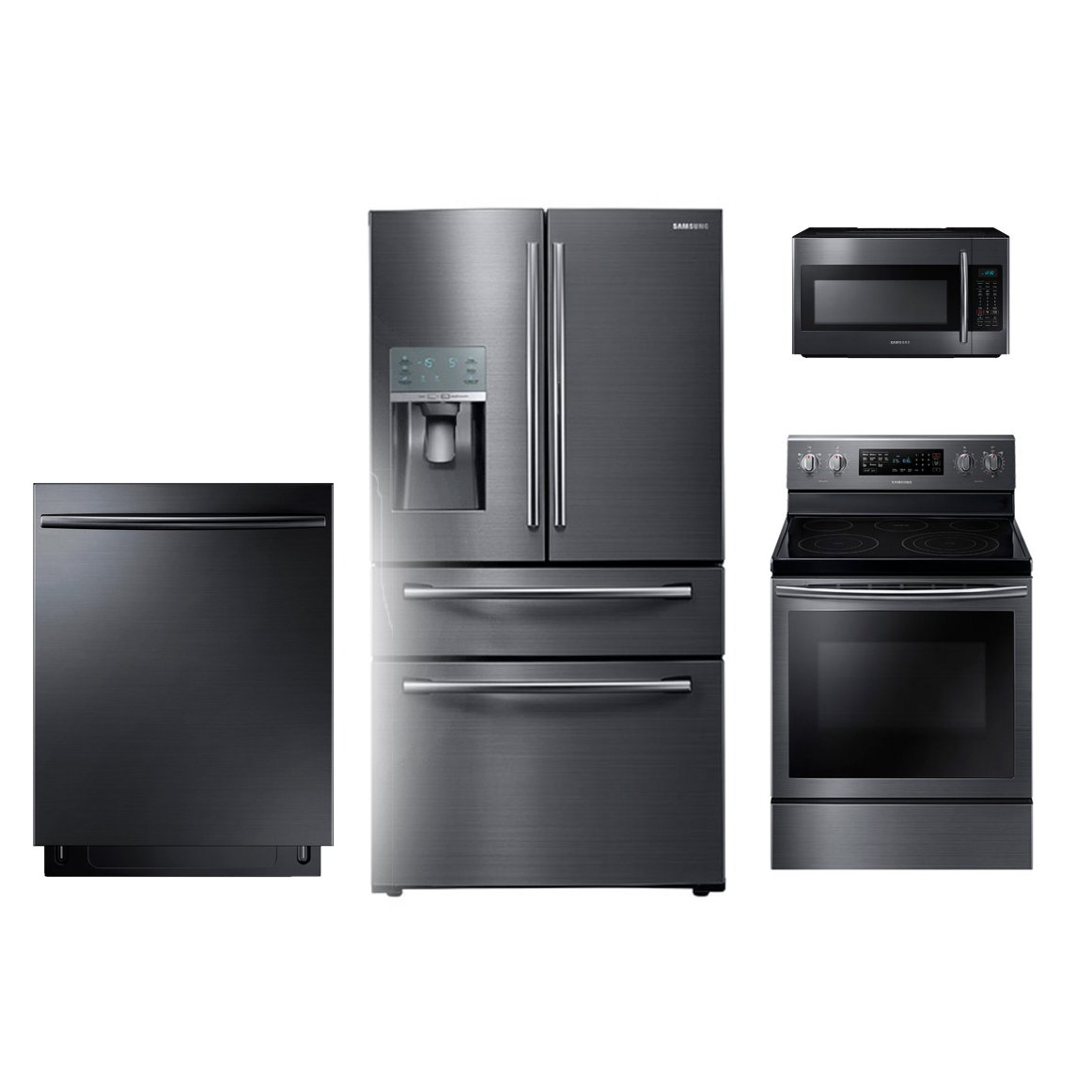 Beau KIT Samsung 4 Piece Kitchen Appliance Package   Black Stainless Steel