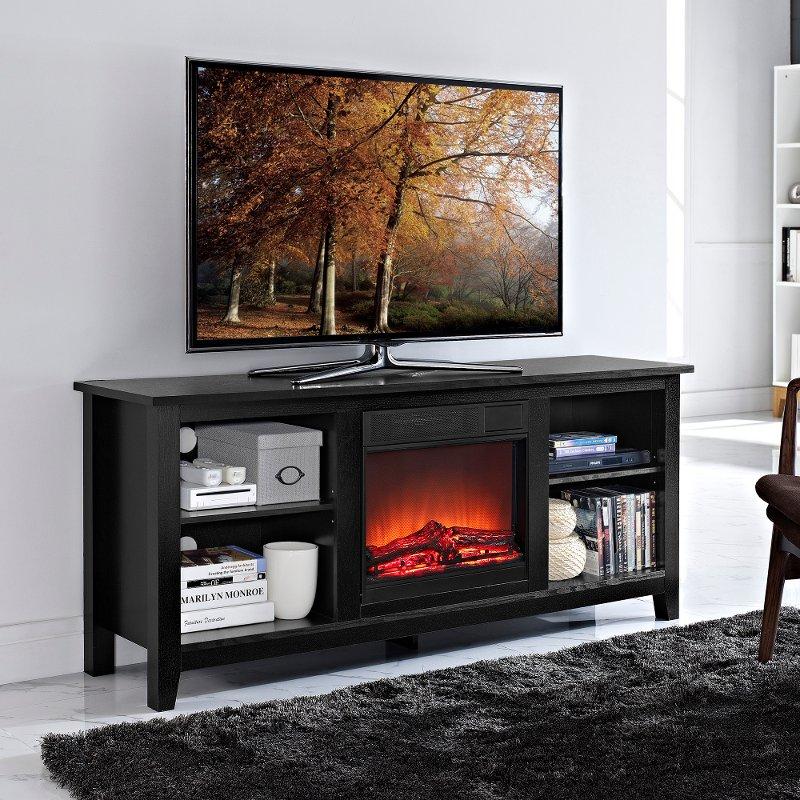 essentials black fireplace tv stand. Black Bedroom Furniture Sets. Home Design Ideas