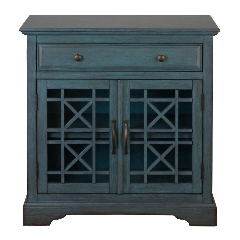 Antique Blue 2 Door and 1 Drawer Accent Cabinet - Antique Blue 2 Door And 1 Drawer Accent Cabinet RC Willey