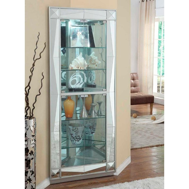 Rc Willey Outlet Center Now Closed: Mirrored Silver Faceted Corner Curio