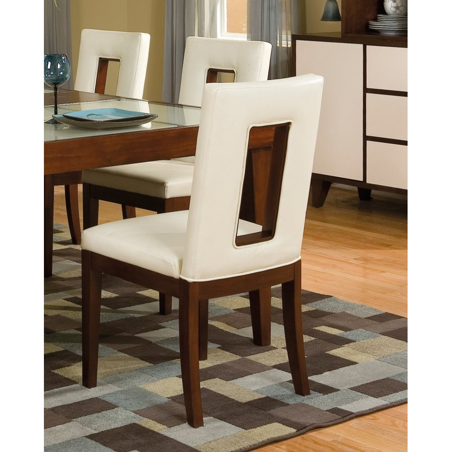 Cherry And White Upholstered Dining Chair Enzo Rc