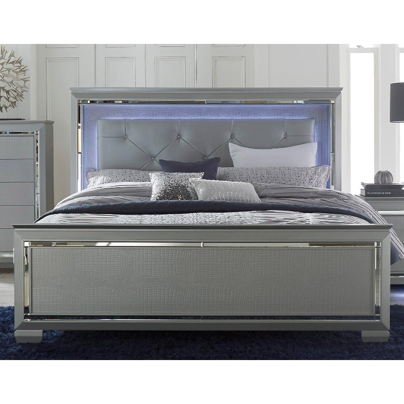 Contemporary Gray Queen Bed Allura Rc Willey Furniture Store