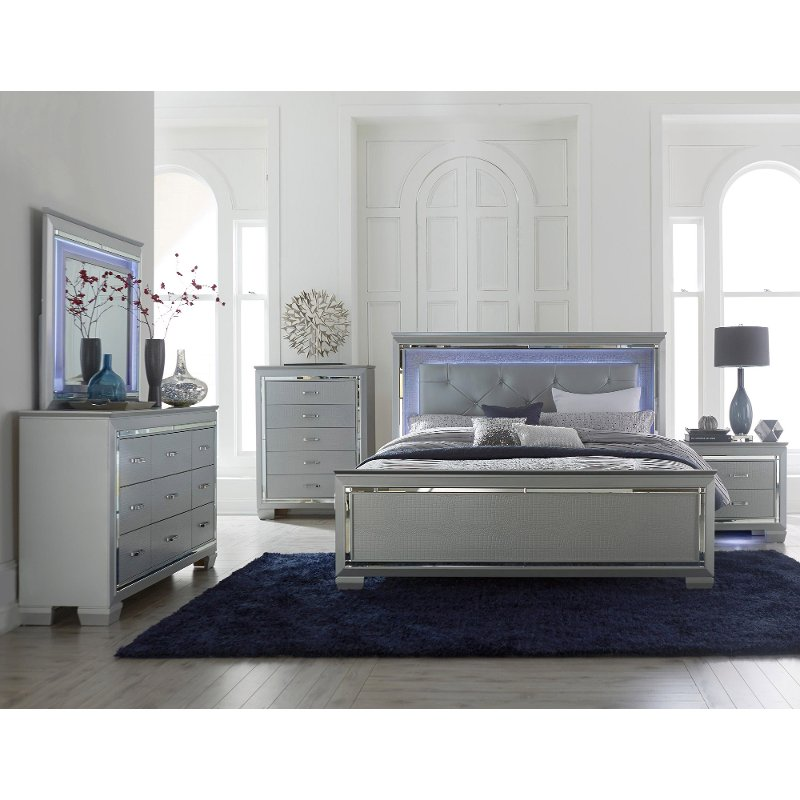Gray 6 Piece King Bedroom Set - Allura