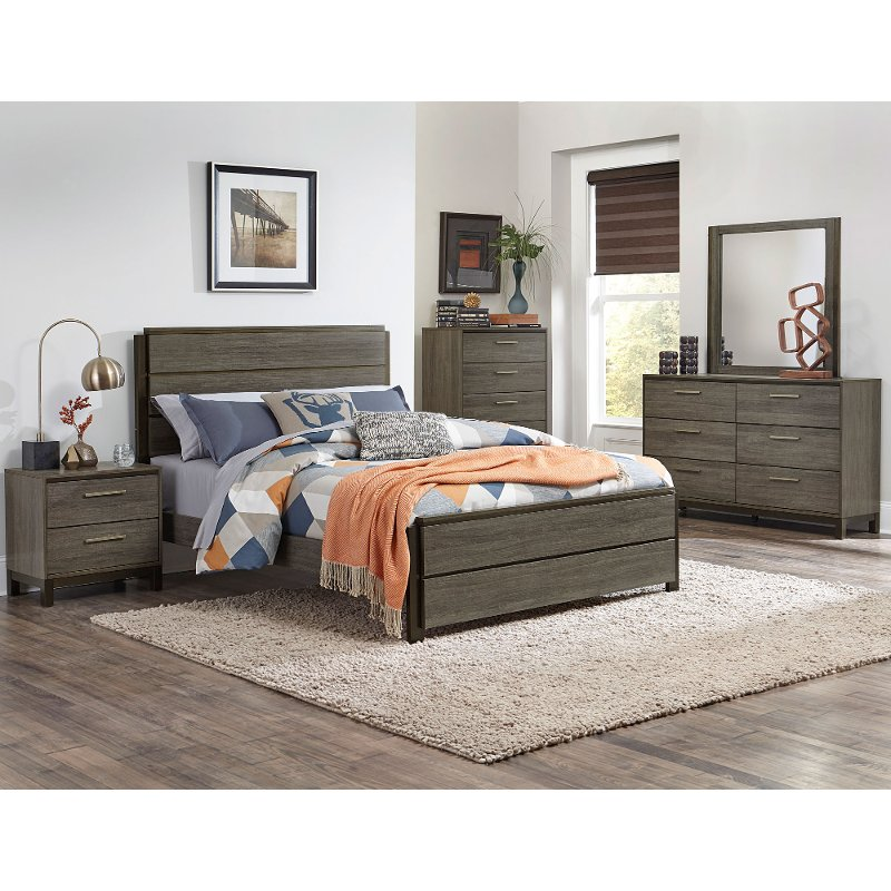 Bedroom Sets Furniture Stores: Gray & Black Contemporary 4 Piece King Bedroom Set