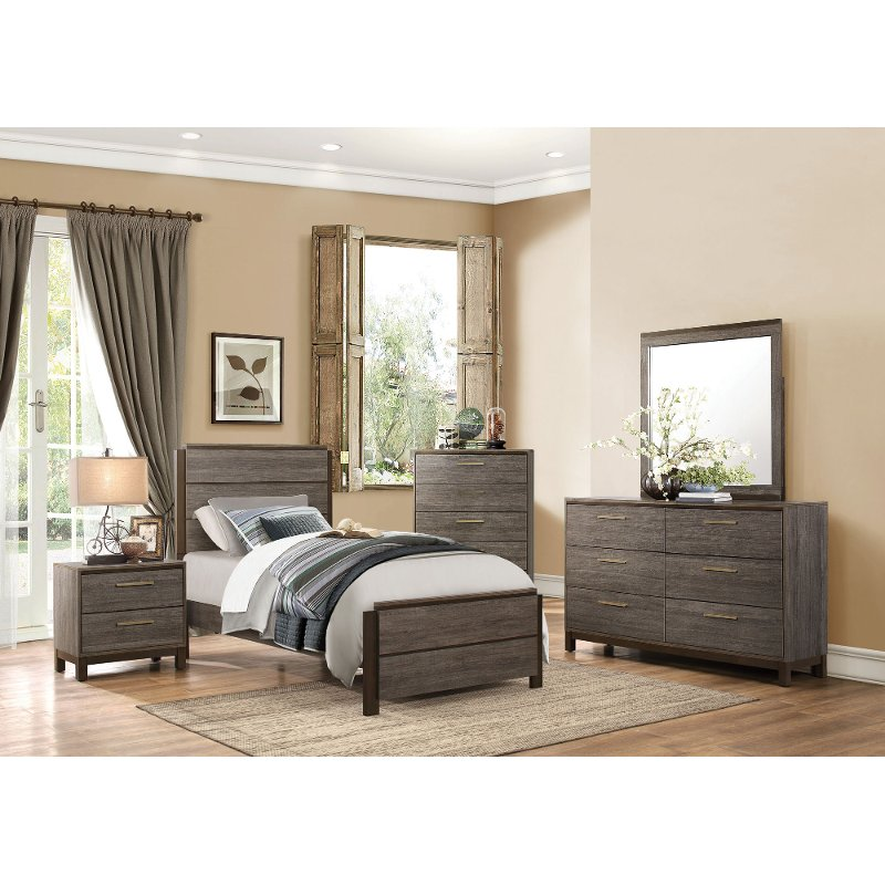Contemporary Gray Black 6 Piece Twin Bedroom Set Oxon Rc Willey Furniture Store