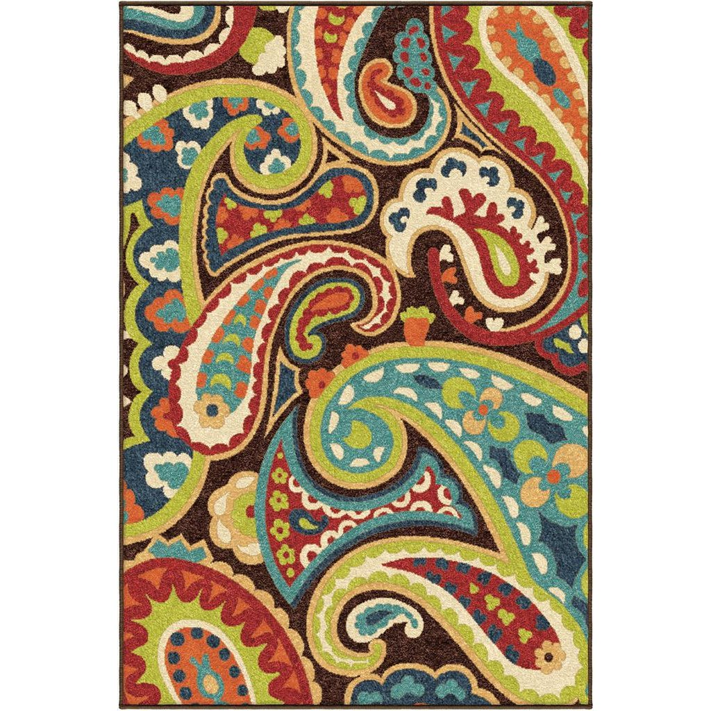 5 X 8 Medium Brown Turquoise And Red Area Rug Paisley Rc