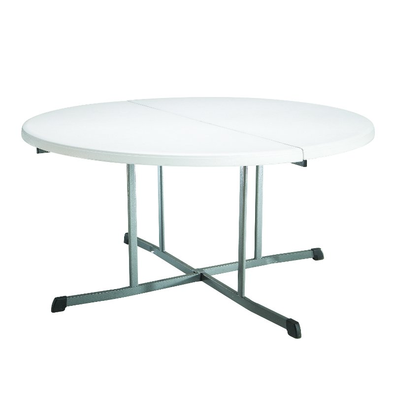 Lifetime 5 Foot Fold In Half Round Table White | RC Willey Furniture Store
