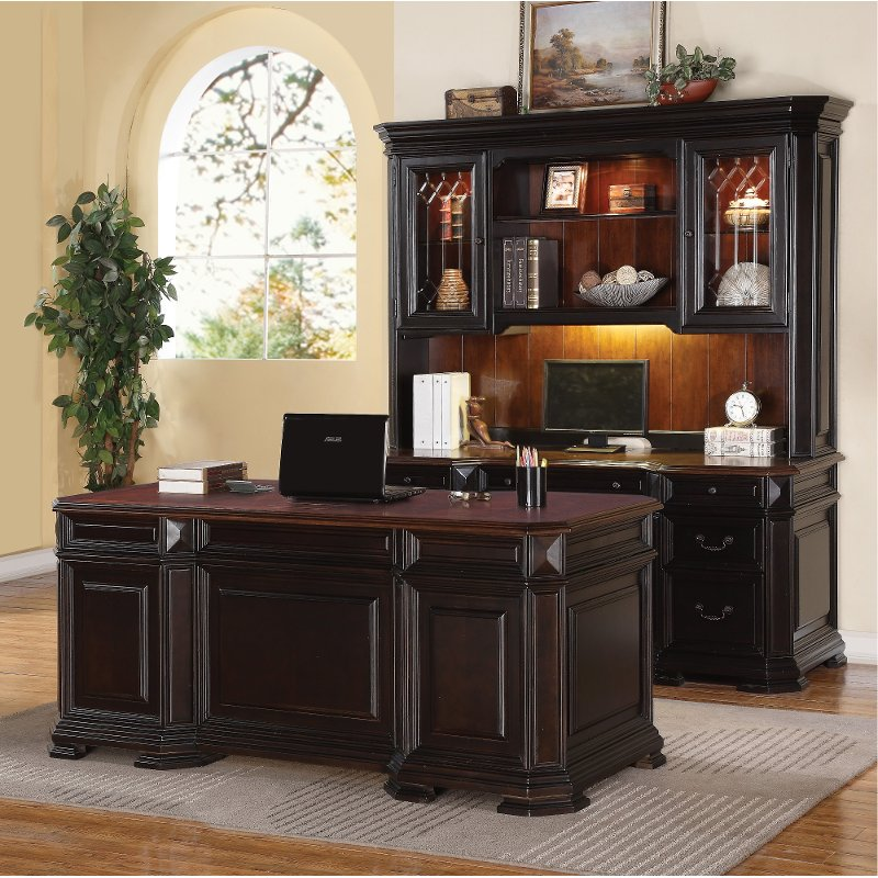 Two Tone Executive Wood Office Desk Eastchester Rc Willey Furniture