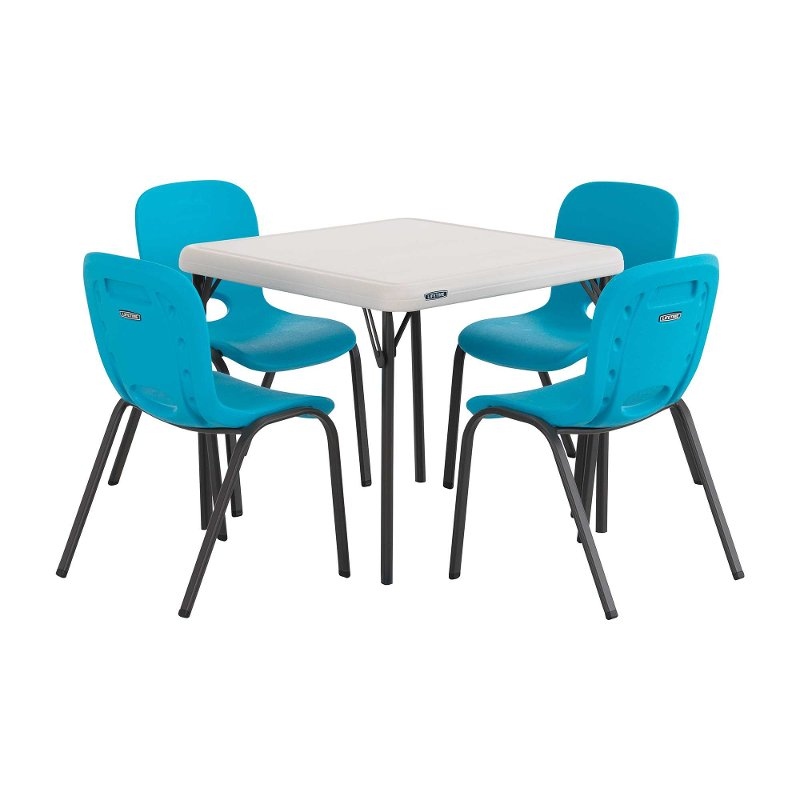 lifetime almond kids table glacier blue chairs set of 4. Black Bedroom Furniture Sets. Home Design Ideas