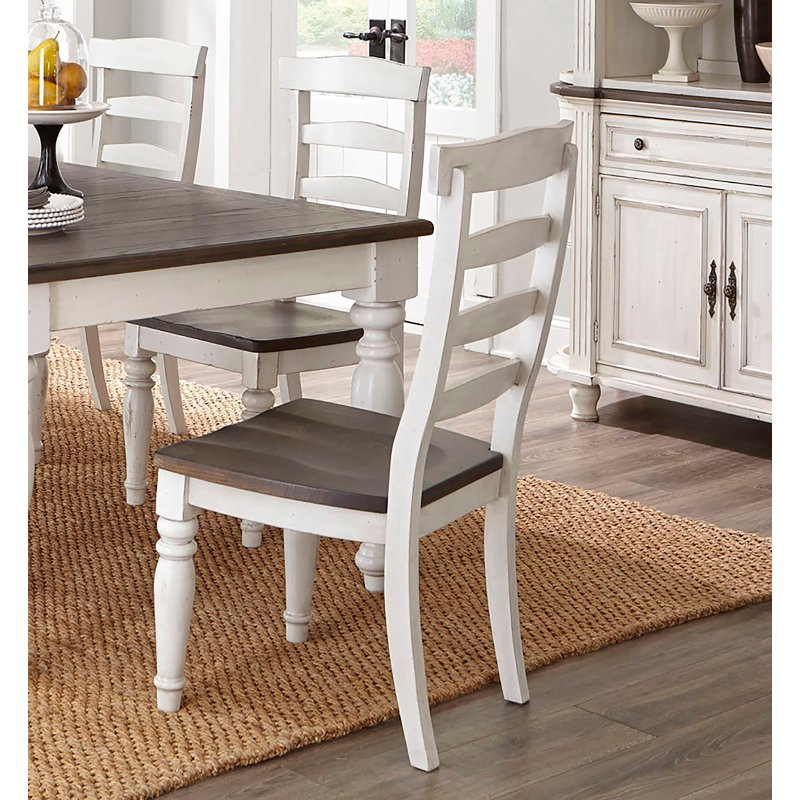 French Country White Two Tone Dining Chair With Turned