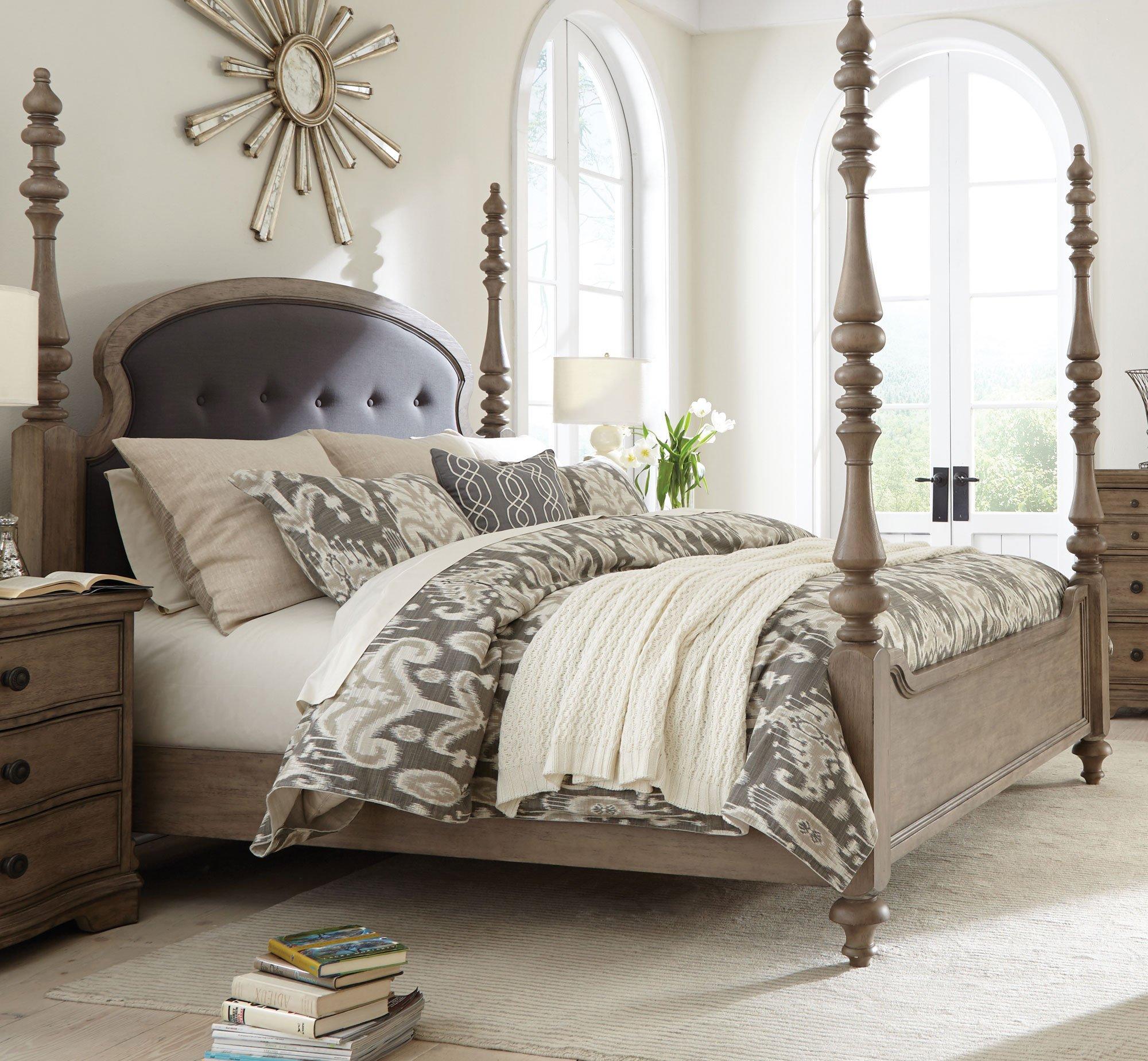 Light Wood Classic Traditional 6 Piece Queen Bedroom Set ...