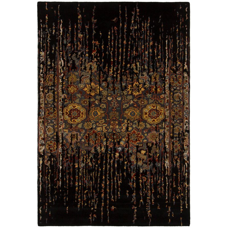 Large Area Rugs Gold: 8 X 11 Large Contemporary Black And Gold Area Rug