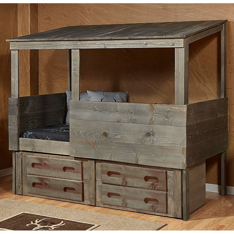 Rustic Driftwood Hideout Twin Storage Bed Fort Rc Willey Furniture Store