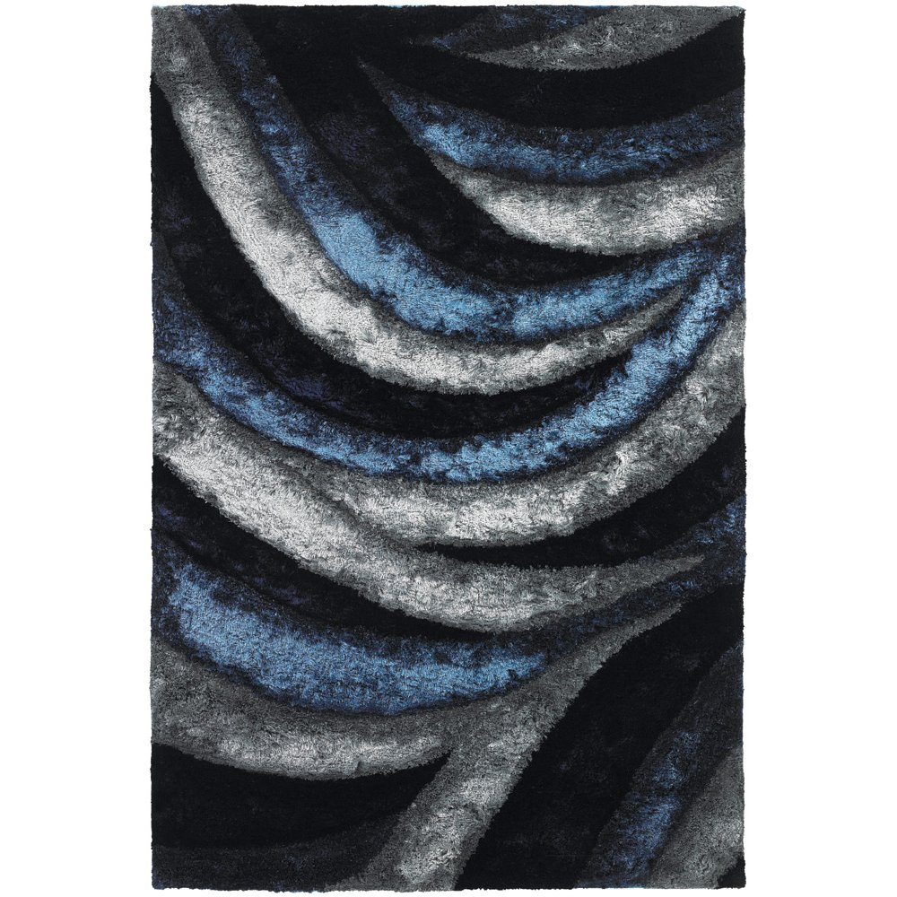8 x 11 Large Contemporary Gray and Navy Blue Rug Flemish