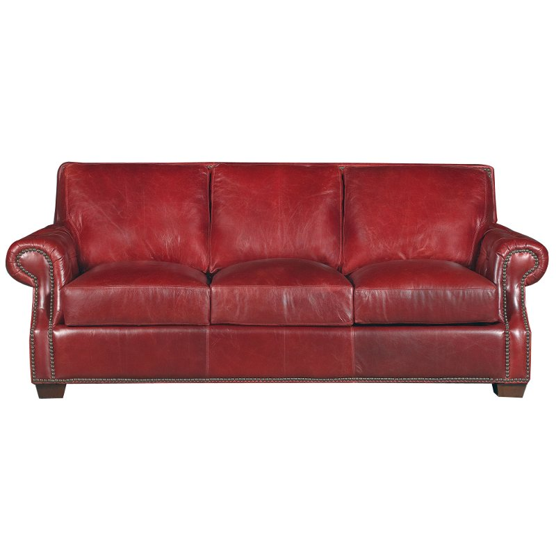 Classic Traditional Red Leather Sofa - Old English