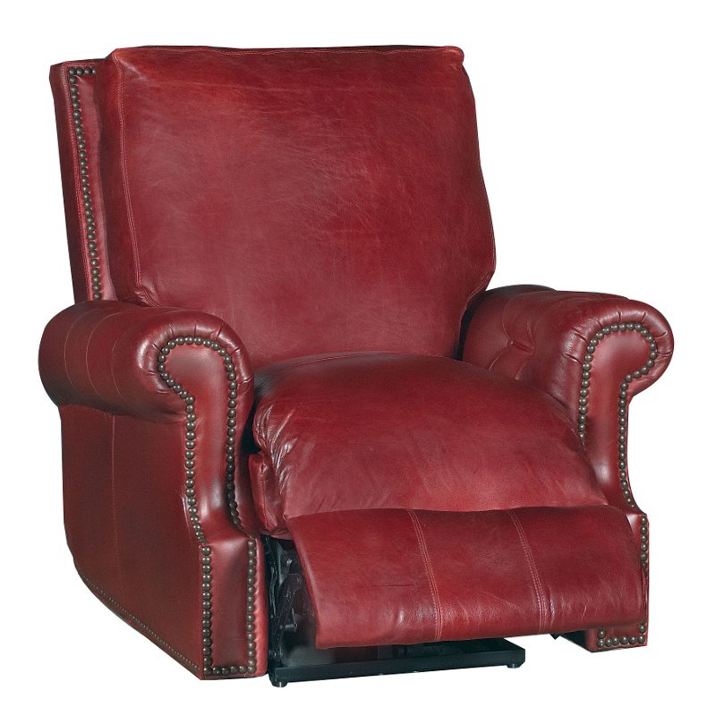 Old English Red Leather Traditional Power Recliner