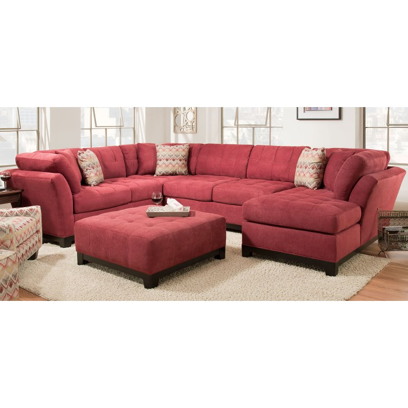 Contemporary Red 3 Piece Sectional Sofa With RAF Chaise   Loxley