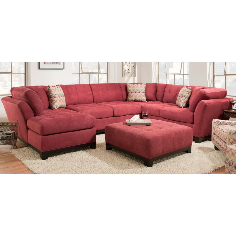 Contemporary Red 3 Piece Sectional Sofa With LAF Chaise   Loxley