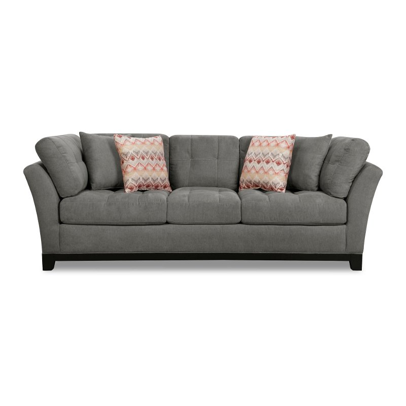 Casual Contemporary Charcoal Gray Sofa   Loxley