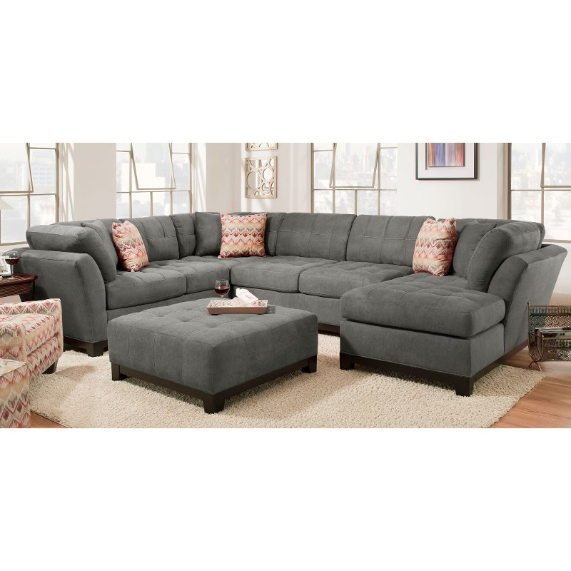 Contemporary Gray 3 Piece Sectional Sofa With Raf Chaise Loxley