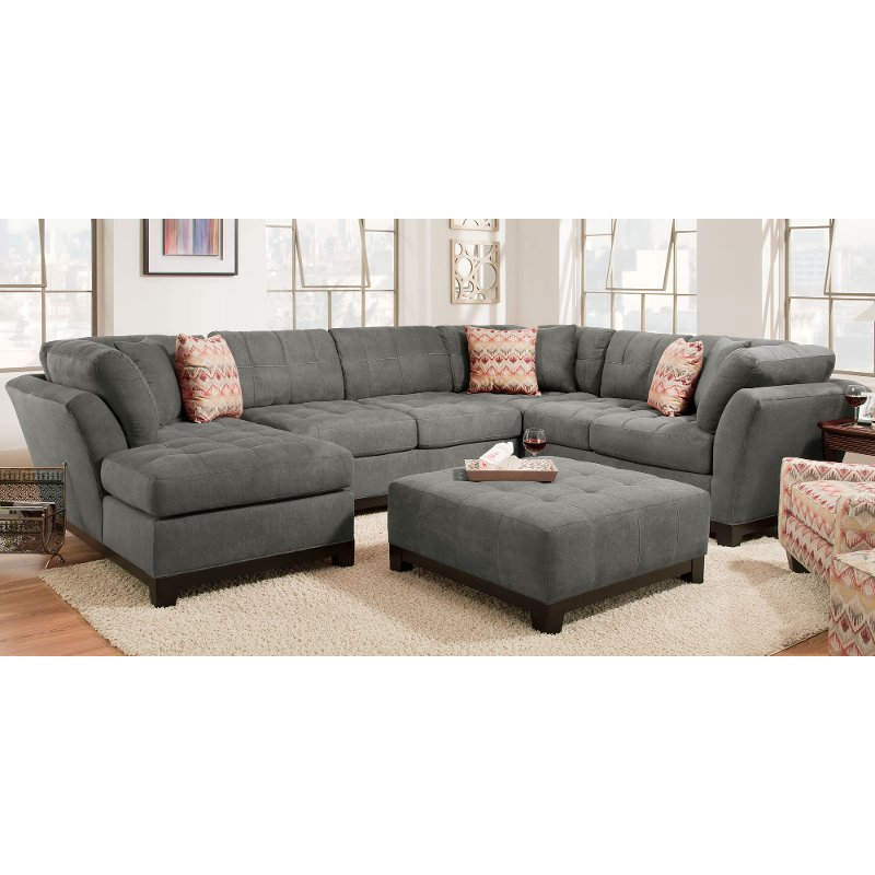 Contemporary Gray 3 Piece Sectional Sofa With Laf Chaise