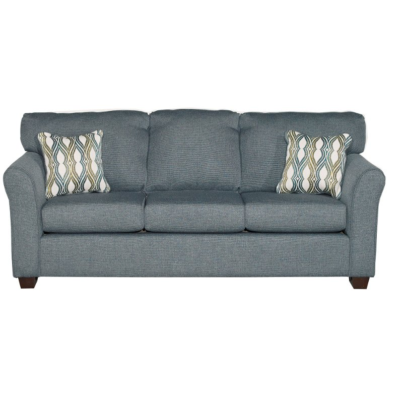 Casual Contemporary Blue Sofa Wall St