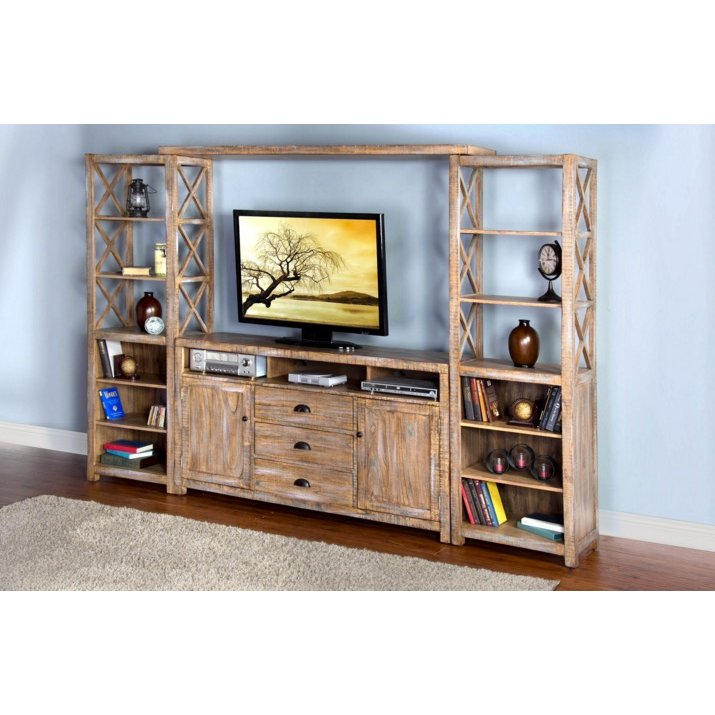 4 Piece Weathered Brown Entertainment Center