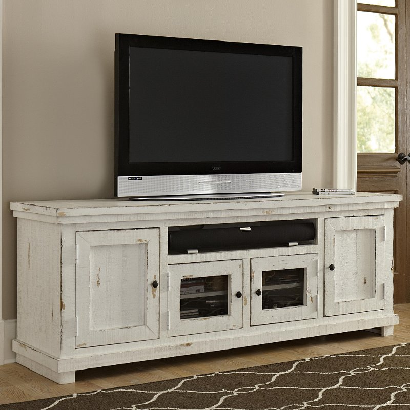 74 Inch Distressed White Tv Stand Willow Rc Willey Furniture Store