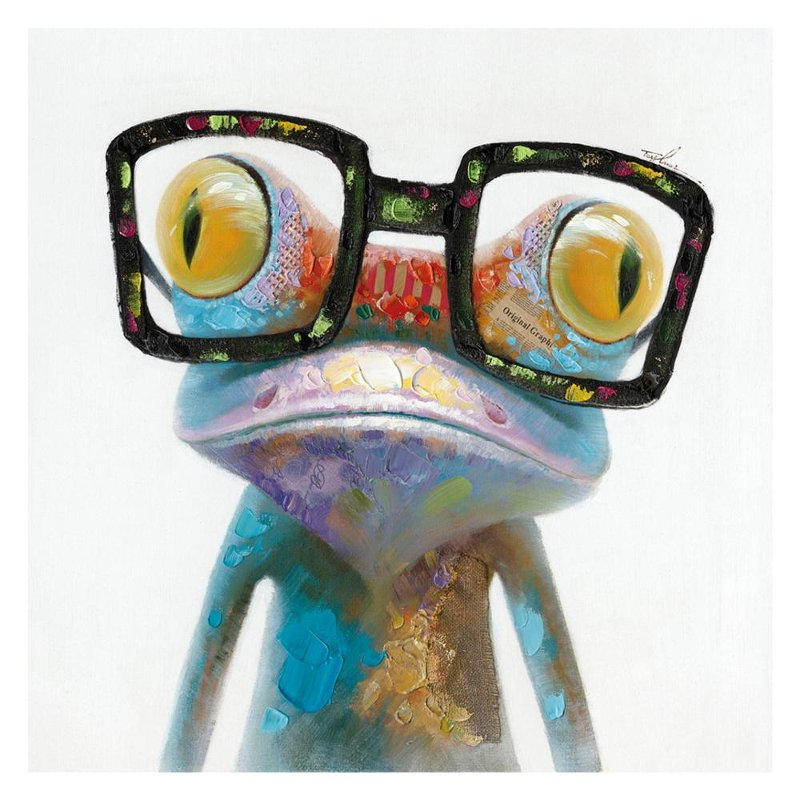 Smart Frog with Glasses Canvas Wall Decor   RC Willey Furniture Store