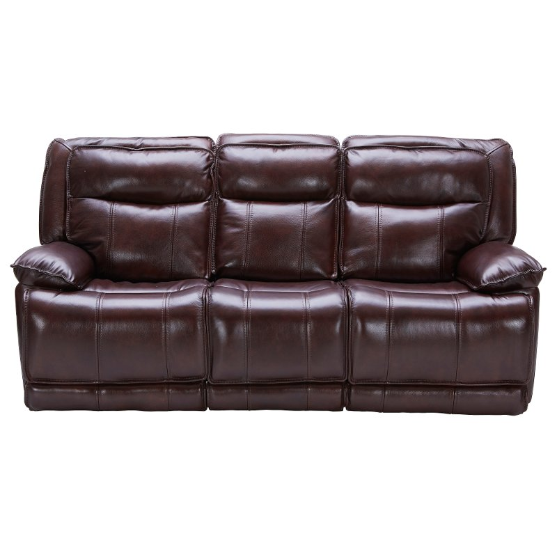 Burgundy Leather-Match Power Triple Reclining Sofa - K-Motion | RC ...