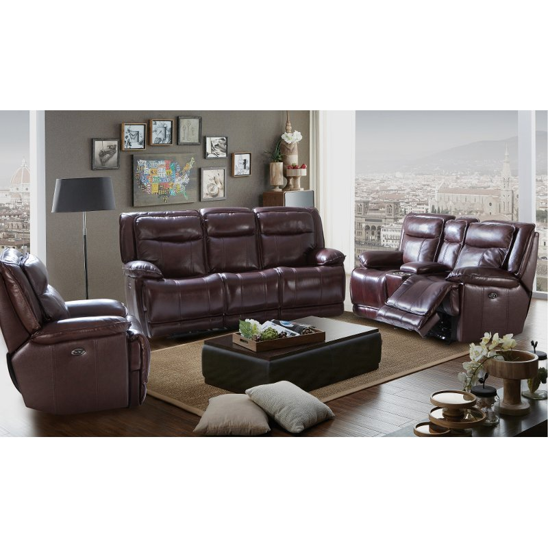 Burgundy Leather Match Reclining Living Room Set K Motion Rc Willey Furniture