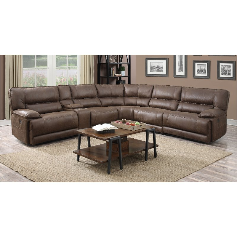 Cognac Brown 6 Piece 2x Power Reclining Sectional Sofa   Kharma