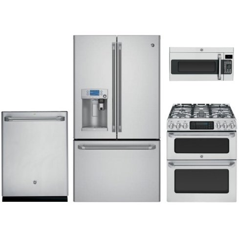 Cafe 4 Piece Kitchen Appliance Package Stainless Steel